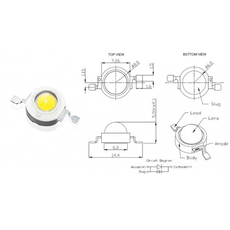 LED 3w de rechange (3,4v)