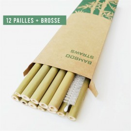 12 Pailles en bambou réutilisables
